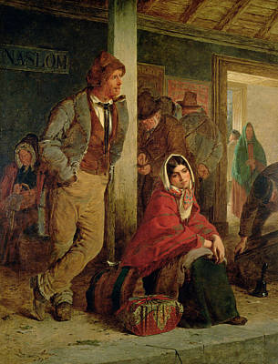 Platform Painting - Irish Emigrants Waiting For A Train by Erskine Nicol