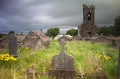Irish Graveyard Cemetary Dark Clouds Art Print by Dirk Ercken