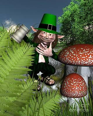 Tankard Digital Art - Irish Leprechaun by Fairy Fantasies
