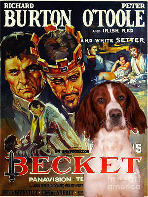 Painting - Irish Red And White Setter Art Canvas Print - Becket Movie Poster by Sandra Sij