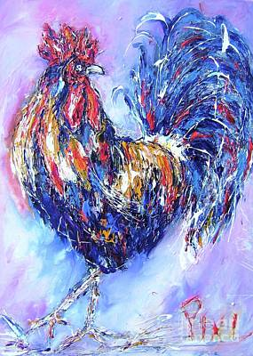 Rooster Painting - rooster...I dont give a cluck by Mary Cahalan Lee- aka PIXI