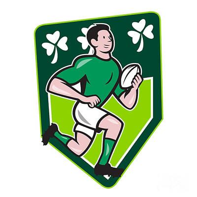 Digital Art - Irish Rugby Player Running Ball Shield Cartoon by Aloysius Patrimonio