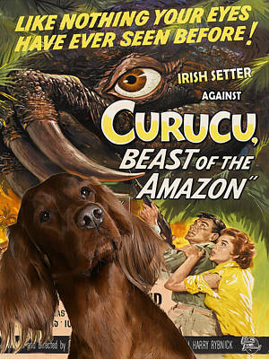 Painting - Irish Setter Art Canvas Print - Curucu Movie Poster by Sandra Sij