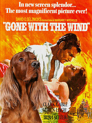 Painting - Irish Setter Art Canvas Print - Gone To The Wind Movie Poster by Sandra Sij