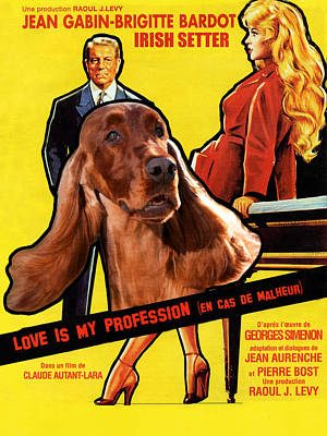Painting - Irish Setter Art Canvas Print - Love Is My Profession Movie Poster by Sandra Sij