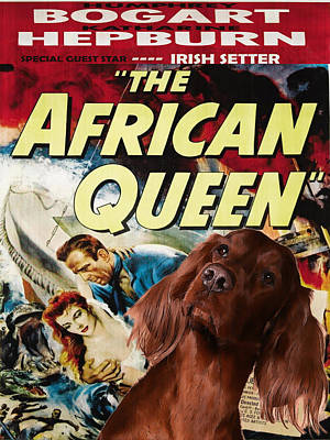 Painting - Irish Setter Art Canvas Print - The African Queen Movie Poster by Sandra Sij