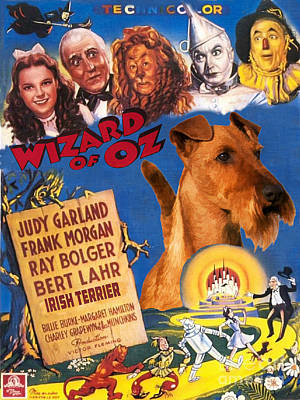 Painting - Irish Terrier Art Canvas Print - The Wizard Of Oz Movie Poster by Sandra Sij