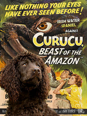 Painting - Irish Water Spaniel Art Canvas Print - Curucu Movie Poster by Sandra Sij