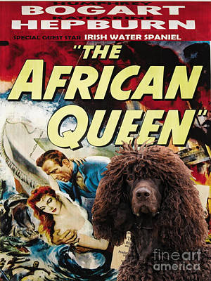 Painting - Irish Water Spaniel Art Canvas Print - The African Queen Movie Poster by Sandra Sij