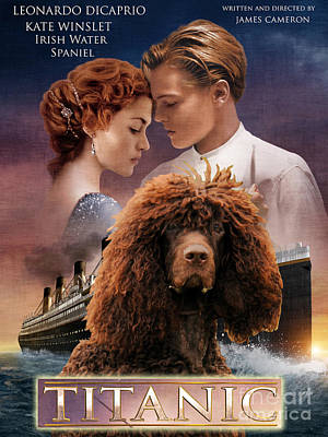 Painting - Irish Water Spaniel Art Canvas Print - Titanic Movie Poster by Sandra Sij