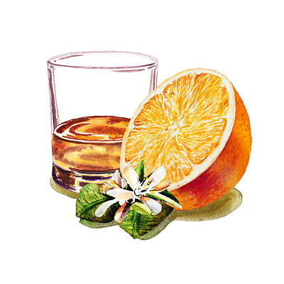 Art Print featuring the painting Irish Whiskey And Orange by Irina Sztukowski