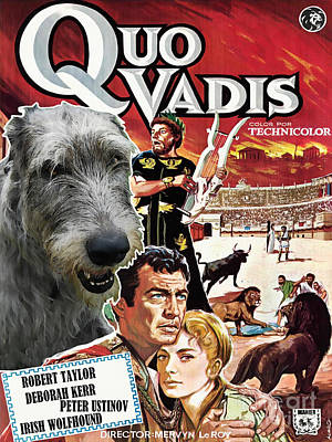 Painting - Irish Wolfhound Art - Quo Vadis Movie Poster by Sandra Sij