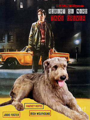 Painting - Irish Wolfhound Art Canvas Print - Taxi Driver Movie Poster by Sandra Sij