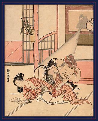 Wall Hanging Drawing - Iro Gonomi No Nuke Daikoku by Harunobu, Suzuki (1725-70), Japanese