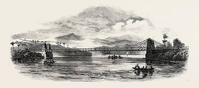Martha Drawing - Iron Bridge Built Across The Martha Brae River by Jamaican School