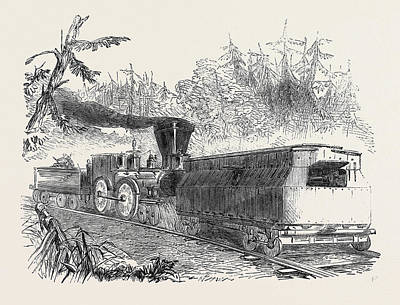 Philadelphia Drawing - Iron Car Battery On The Philadelphia Railway 1861 Railroad by English School