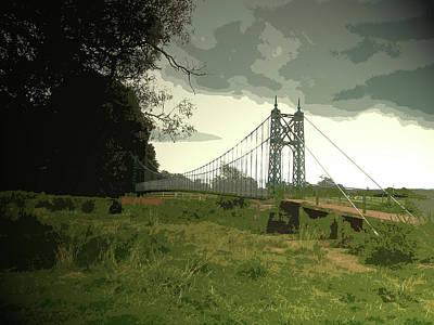 Suspension Drawing - Iron Footbridge Near Doveridge, Elegant Suspension Bridge by Litz Collection