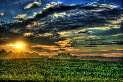 Iron Horse Sunrise Young Corn And Silos Art Print by Reid Callaway
