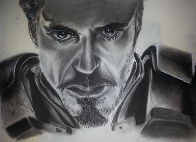 Robert Downey Jr Drawing Drawing - Iron Man by Ashley Williams