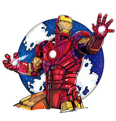Super Hero Drawings Drawing - Iron Man by Dave Olsen