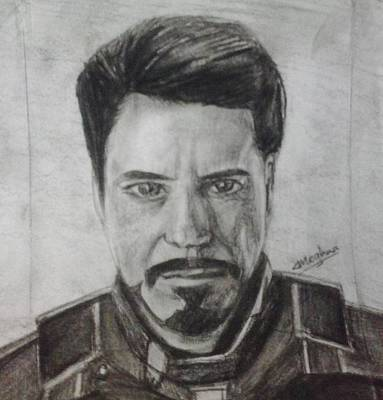 Avengers Drawing - Iron Man by Meghna Suvarna