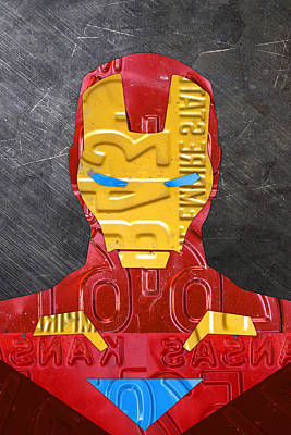 Iron Mixed Media - Iron Man Superhero Vintage Recycled License Plate Art Portrait by Design Turnpike