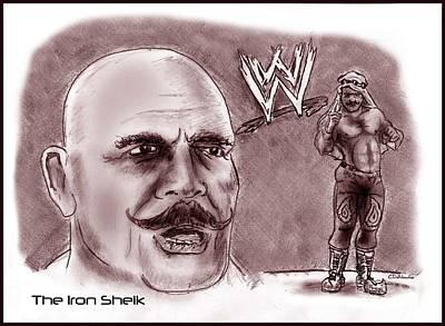 Drawing - Iron Sheik by Chris  DelVecchio