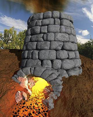 Iron-smelting Furnace, Artwork Print by Science Photo Library