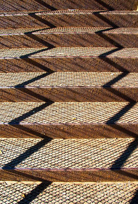 Grate Photograph - Iron Stairway Sunlight Patterns by Gary Whitton