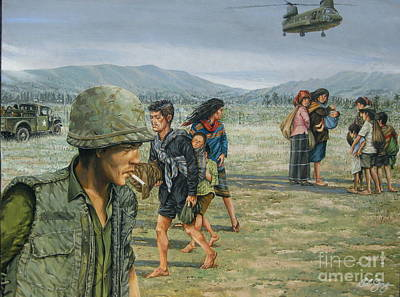 Painting - Iron Triangle Refugees 1965 by Bob  George