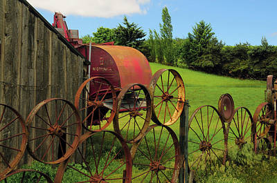 Installation Art Photograph - Iron Wheels, Dahmen Barn, Uniontown by Michel Hersen