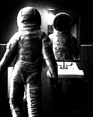 Science Fiction Royalty-Free and Rights-Managed Images - The Astronaut and The Bathroom by Bob Orsillo