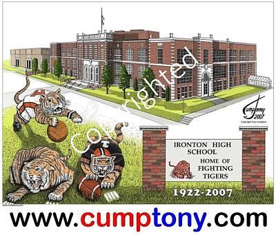 Ironton Drawing - Ironton High School Oh by Tony Cumpton