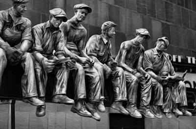 Photograph - Ironworkers Having Lunch by Lee Dos Santos