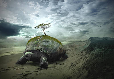 Turtle Digital Art - Iroquois Creation Story by Rick Mosher