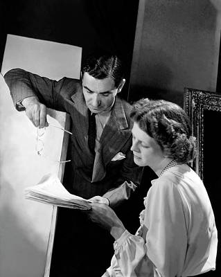 Irving Berlin Looking At Papers With His Wife Art Print