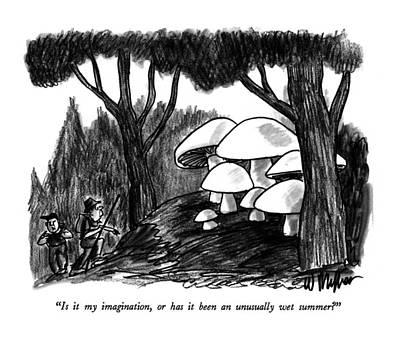 Mushroom Drawing - Is It My Imagination by Warren Miller