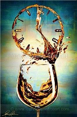 Wine Art Painting - Is It Wine O'clock Yet  - Summer White Motif Wine Art Painting by Leanne Laine
