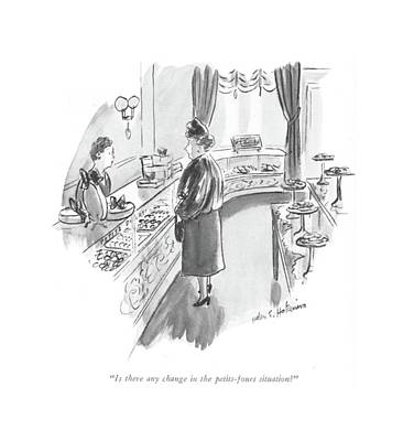 Bakery Drawing - Is There Any Change In The Petits-fours Situation? by Helen E. Hokinson