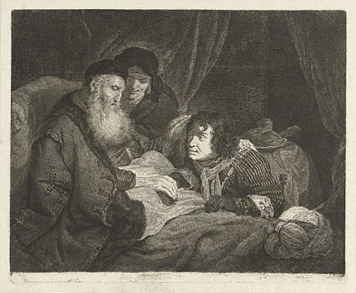 Frey Drawing - Isaac Blesses Jacob, Johannes Pieter De Frey by Johannes Pieter De Frey And Govert Flinck