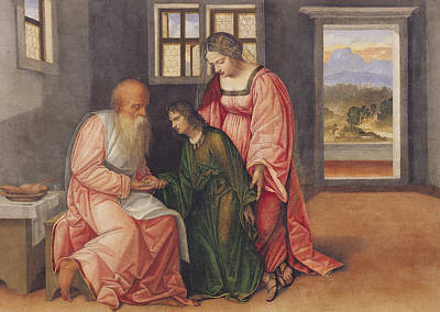 Blessings Painting - Isaac Blessing Jacob by Girolamo da Treviso II