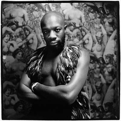Photograph - Isaac Hayes Wearing A Feather Vest by Peter Hujar