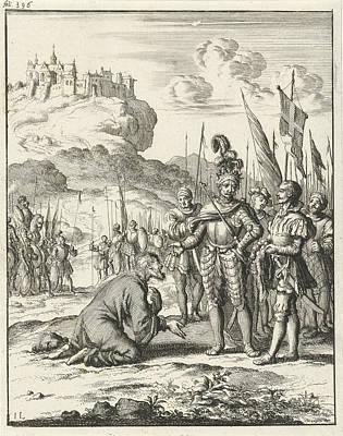 Cyprus Drawing - Isaac Komnenos Of Cyprus Is Kneeling In Front Of Richard by Jan Luyken And Timotheus Ten Hoorn