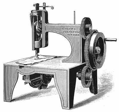 Isaac Singer's First Sewing Machine Art Print