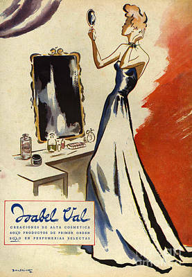 Nineteen Forties Drawing - Isabel Val 1942 1940s Spain Cc Mirrors by The Advertising Archives
