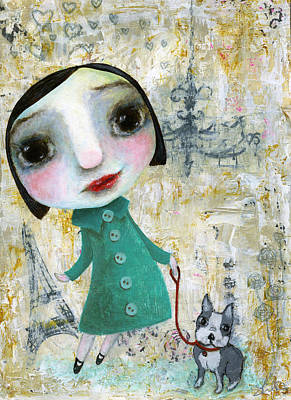 Isabelle And Her Dog Art Print by Shirley Dawson