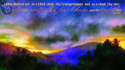 Isaiah Digital Art - Isaiah 44 22 by Michelle Greene Wheeler