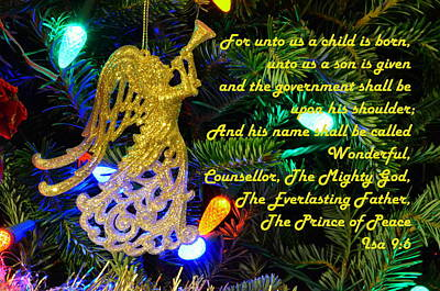 Prince Of Peace Photograph - Isaiah Scripture Christmas Card by Ronald T Williams