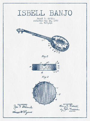 Banjo Drawing - Isbell Banjo Patent Drawing From 1897  - Blue Ink by Aged Pixel