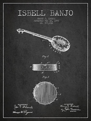 Isbell Banjo Patent Drawing From 1897 - Dark Art Print by Aged Pixel